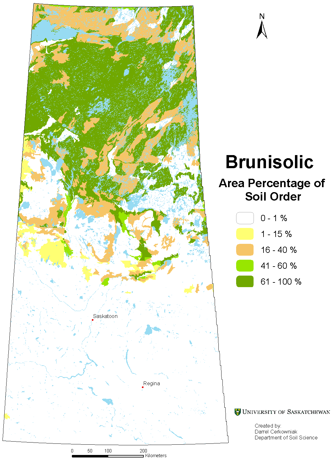Distribution of Brunisolic soils in Saskatchewan
