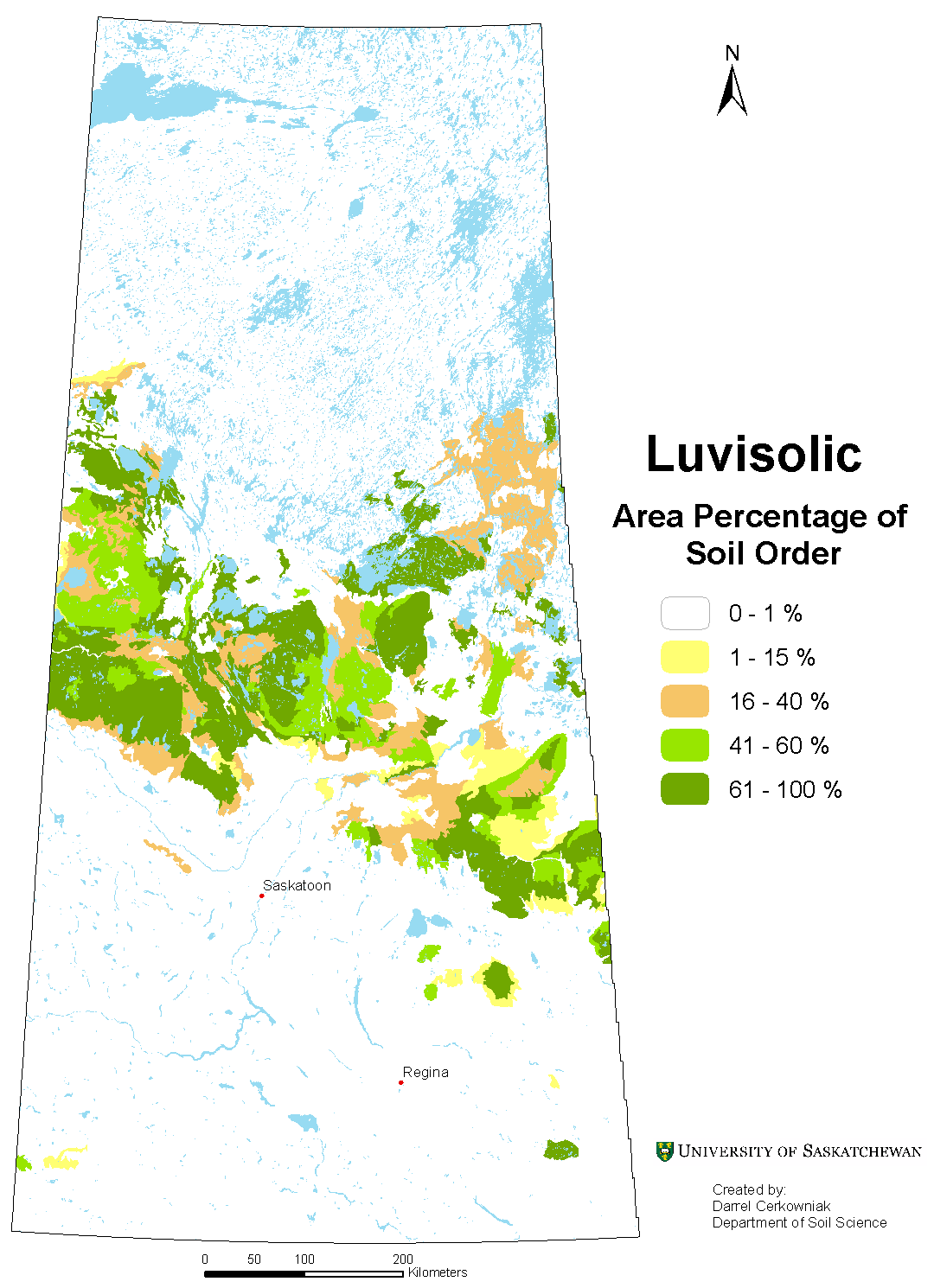 Distribution of Luvisolic soils in Saskatchewan