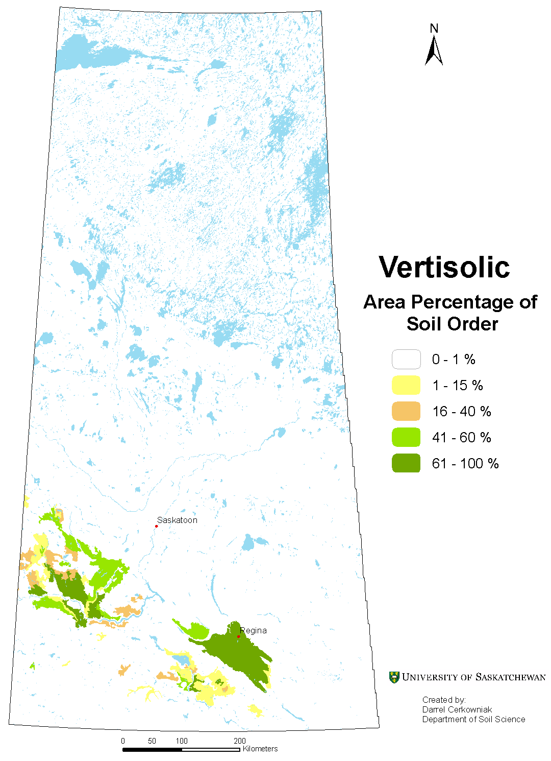 Distribution of Vertisolic soils in Saskatchewan